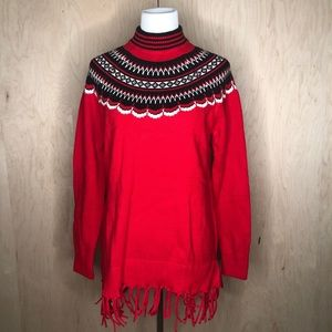 Isaac Mizrahi Live Red Sweater with Fringes